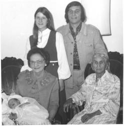5 generations:  Anne Goresky (Paley) and her mother; Walter Goresky, Lynne Vance, Jason Vance