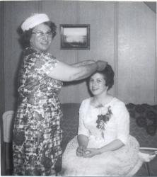 Olympia and daughter Jeanie on her wedding day